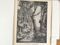 1930s Woodcut nude female print A Forest Glade by Paul Baudier