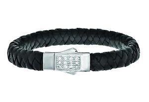 Phillip Gavriel Men's Sterling Silver 12 White Sapphire Black Leather Bracelet