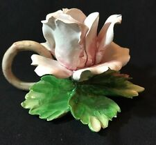 Vintage Napoleon Capodimonte Porcelain Rose Candle Holder ~ Pink Rose