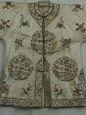 58c340616 Antique Chinese Silk Robe Jacket Qing Embroidery Forbidden Stitch Gold  Threads