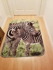 Vintage Zebra Animal Print Reversible Blanket Throw Shavel Home Products RARE!