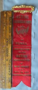 SHIELD OF HONOR  Active Ass.  of Penna & N.J. 1904 Antique Fraternal Ribbon