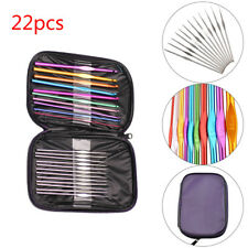 22 PIECE MULTI COLOURED ALUMINIUM CROCHET HOOKS KNITTING NEEDLES SET COLORFUL