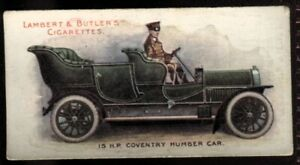 Tobacco Card, Lambert Butler, MOTORS, 1908, 15hp Coventry Humber Car, #3