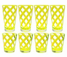 New listing Qg 8pc 16 & 22 oz Neon Green Stripes Acrylic Iced Tea Cup with Clear Heavy Base
