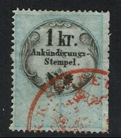 Austria 1kr advertisement rev stamp perf 15 x 13 red cancel, see note Lot 052117