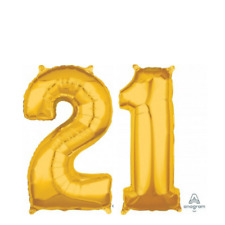 Gold 21st Birthday Party Balloons Numbers 21 66cm Air or Helium Foil Decoration