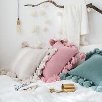 UK INS Pillowslip Handmade Knitted Cushion Pillowcase Tassels Balls Home Decor