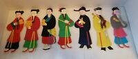 VINTAGE CHINESE HANDCRAFTED PAPER DOLLS W/SATIN
