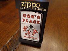 DON'S PLACE CLOWN BRADFORD PA BAR ZIPPO LIGHTER 18/50 MINT IN BOX 2000