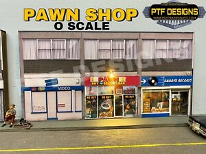 """O Scale Scratch Built """"PAWN SHOP""""💰Video + Record LED, Building Flat, MTH Lionel"""
