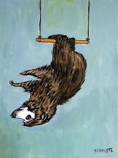 SLoth on the trapeze 8x10 art PRINT poster modern wall art JSCHMETZ matte paper