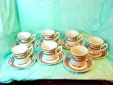 7 J & G MEAKIN CUPS & SAUCERS BROWN Americana STYLE HOUSE Ironstone England