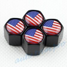 USA America Flag Emblem Car Wheel Rim Tire Tyre Valve Stem Air Dust Cap Black 4X