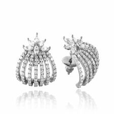 7 ROW HUGGING EARRINGS W/ MARQUISE SHAPE LAB DIAMONDS/ 925 STERLING SILVER
