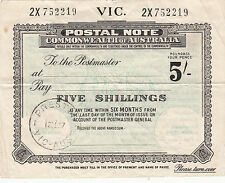 Postal Note 5/- Victoria used 1957 Preston postmark with C of A watermark