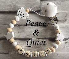 Personalised dummy clip 💛 Manichino di legno ⭐ CATENA 💛 Teddy ⭐ BOY 💛 Girl ⭐ regalo #WWW