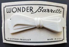 "Vintage Hair Barrettes - White Wonder ""Bow"" Barrette (Made in U.S.A)"