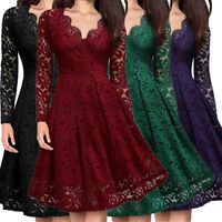 Women Sexy V-Neck Off Shoulder Lace Formal Evening Party Dress Long Sleeve Dress