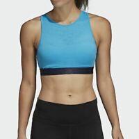 ADIDAS Women's HALTER Sports BRA 2.0, BLUE (SHOCK CYAN) DU1281 New Large