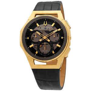 Bulova CURV Chronograph Quartz Black Transparent Center Dial Men's Watch 97A143