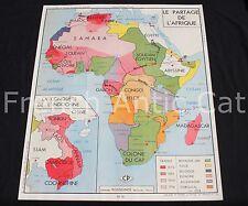 Affiche scolaire vintage Partage de l' Afrique Guerre 1870 1871 Rossignol 90*75