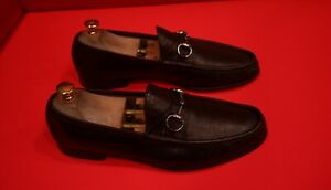 $749.00 !! GUCCI MEN'S ICONIC BURGUNDY LEATHER HORSE BIT LOAFERS MARKED SIZE 8 D