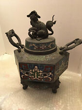 ANTIQUE JAPANESE MEIJI BRONZE CLOISONE TRIPOD INCENSE BURNER/JISHI LION-FOO DOG