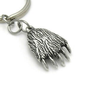Grizzly Paw Keychain Animal Bear Claw Key Ring in Pewter on 30 mm Ring