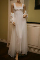 Vintage Shadowline Peignoir Set Chiffon Bridal White Nightgown Robe S, EEVC
