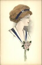 Beautiful Woman Blue Hair Band Hand Colored c1910 Postcard