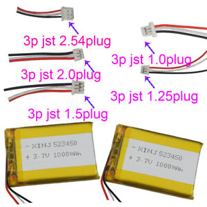 3.7V 1000 mAh 523450 Polymer Li battery 3 wires 3Pin JST-PH plug for GPS Camera
