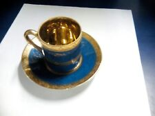Arnart 5th Ave Hand Painted GOLD BLUE 2055 demitasse cup GOLD INSIDE & saucer
