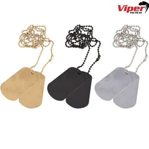 VIPER MILITARY DOG TAGS ARMY ID TAG NECKLACE MENS BOYS SOLDIER SILVER GOLD BLACK