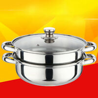 2 Tier Stainless Steel Food Steamer Pot Vegetable Cooker Cookware Glass Lid 28cm