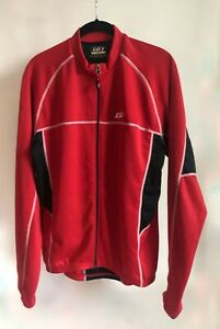Louis Geneau Men's Thermal Red Cycling Jersey Sz Large Full Zip Cold Weather