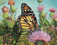 """Original Artwork oil painting Monarch butterfly on stretch canvas, 16''x20"""""""