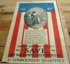 WWI Buy War Stamps Poster Childs Prayer My Soldier France Airplanes War Bonds US
