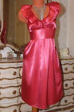 CORALLO Rosa Lucido Elasticizzato in Raso Abito donna in finta Figa Arco sul retro taglia 10