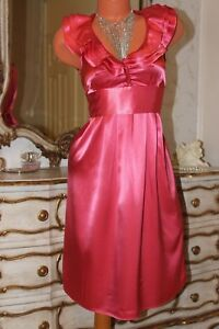 Coral Pink shiny elasticated faux satin ladies dress pussy bow at the back Sz 10