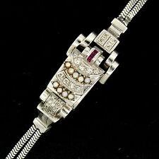 Retro Vintage Eska 14K White Gold Diamond Ruby Seed Pearl Mechanical Wrist Watch