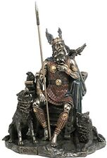 """10.25"""" Odin Sitting with Wolves and Crows Norse God Statue Deity Viking Decor"""