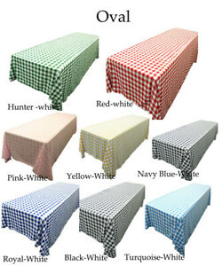 Rectangular Checkered Tablecloth Multiples Colors & Sizes,ideal for party rental