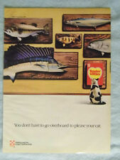 1985 Magazine Advertisement Ad Page Purina Tender Vittles Cat Food Mounted Fish
