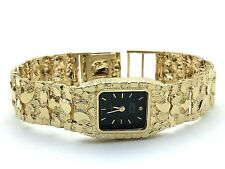 """14K Geneve Women's Solid Yellow Gold Nugget Style Geneve Watch with Diamond 7"""""""