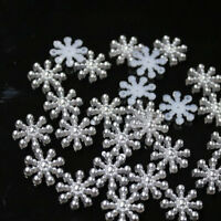 50pc Craft Snowflake Pearls Embellishments Flatback Art Christmas Decoration New