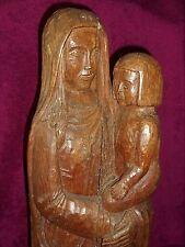 TRES ANCIENNE STATUE RELIGIEUSE BOIS CHENE/LA VIERGE A L'ENFANT/RELIGION/H.81 cm