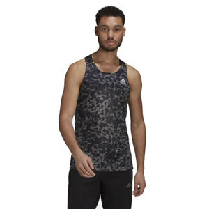 adidas Mens Primeblue Running Vest Black Sports Breathable Reflective