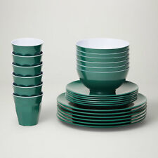 Barel Designs Royal Green Melamine 48 Piece Dinner Set - Cups, Bowls, Plates