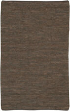 5x8' Chandra Rug  Saket Hand-woven Reversible Leather Flatweave Leather SAK3704-